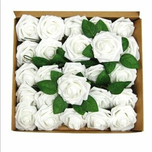 50 Pcs Artificial Rose Flower Heads Weddings Ivory